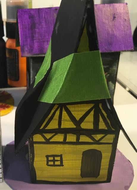 Glue roof on Medieval Haunted Paper house taped