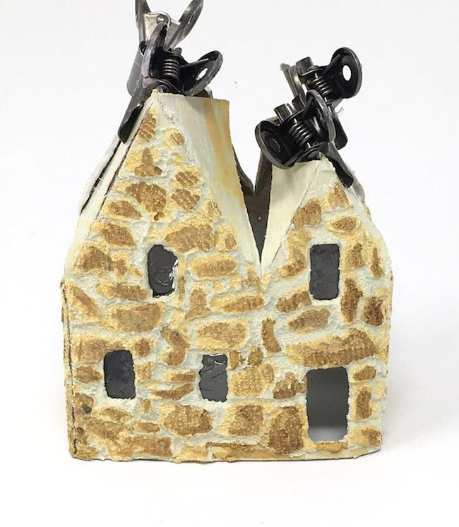 Glue roof tabs to roof flaps on miniature Irish stone putz house