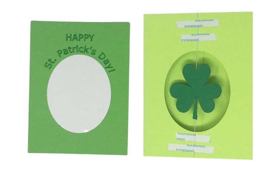 Glue the cover on the shamrock spinner card