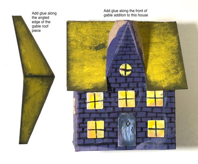 Glue gable roof to Middle Gable Halloween house