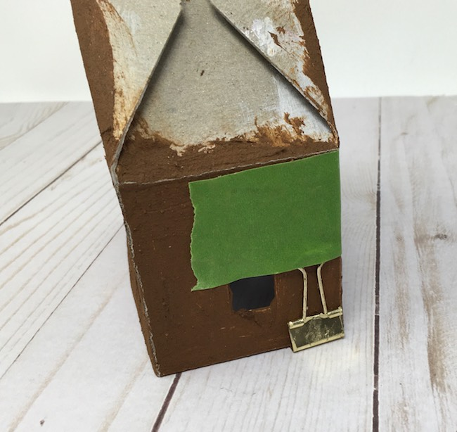 Glue the house together use binder clips and painters tip