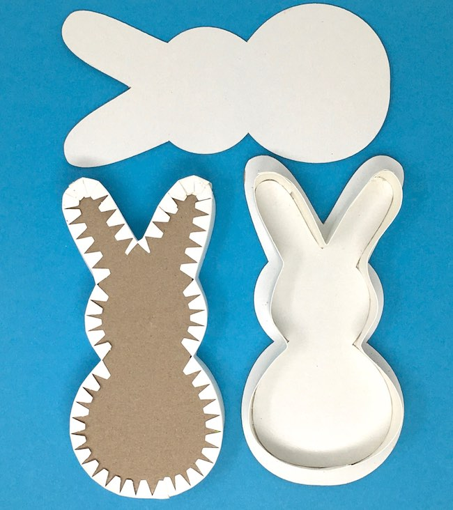 Glue top and bottom pieces to each half bunny box