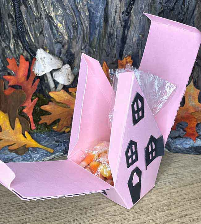 Gothic Halloween House gift box with candy corn