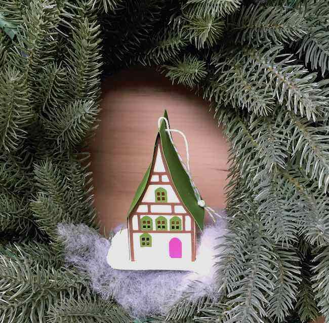 Green and pink roof paper ornament