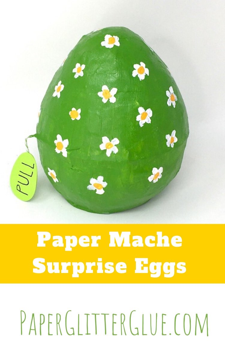 Green daisy surprise egg made of paper mache