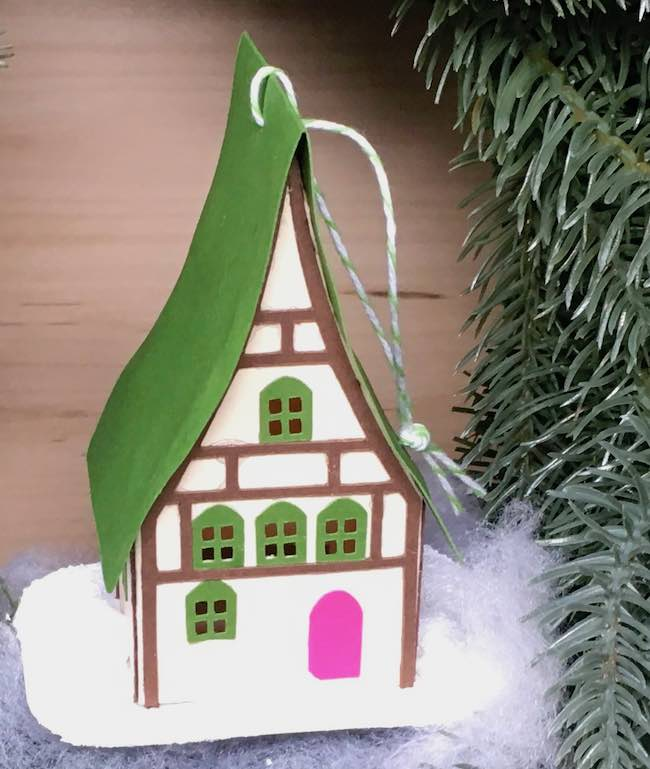 Green roof holiday house paper ornament