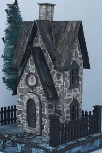 Stone siding on the Greystone Clock House Halloween house #putzhouse #paperpattern #papercraft