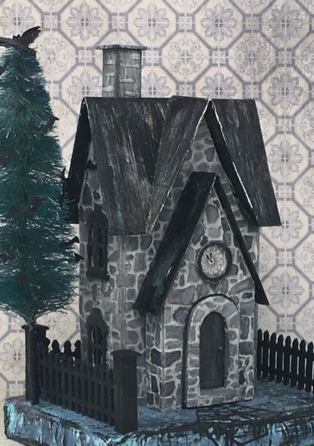 Greystone Clock house Halloween house Halloween decoration #putzhouse #paperpattern #papercraft