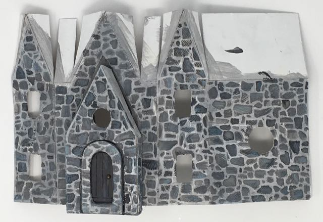 Greystone clock paper putz house painted for stone texture #halloweenhouse #putzhouse #paperpattern #papercraft