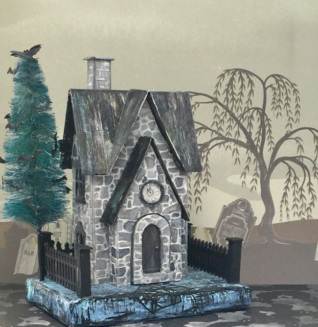 Halloween paper house or putz house called the Greystone Clock House with a bat tree - free pattern #putzhouse #halloweenhouse #paperpattern #papercraft