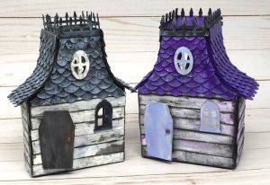 Halloween Manors made from recycled pasta boxes