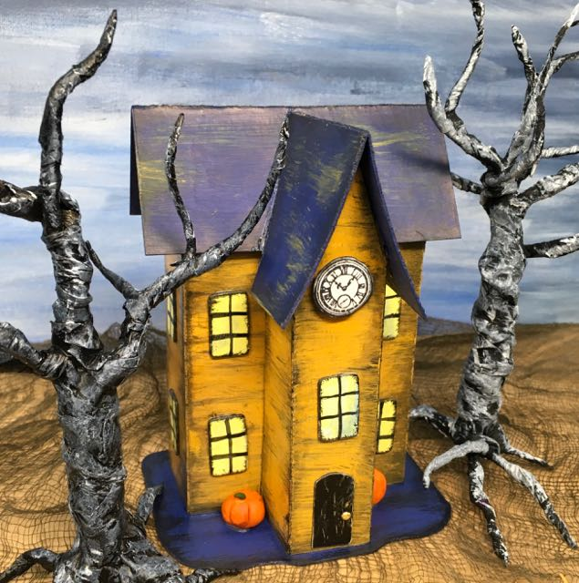 Halloween Paper House No 10 angle clock tower