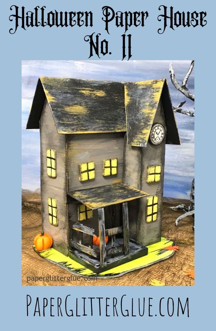 Halloween Paper House No 11 paper boarding house with spooky front porch