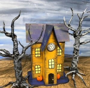 Halloween Paper House No. 10 front Clock Tower #diyhalloween #halloweencrafts