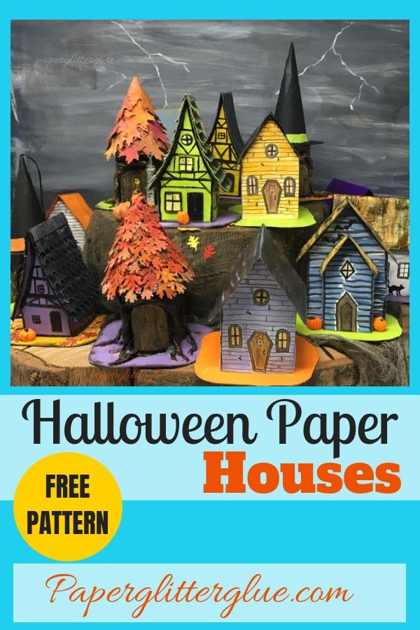 Halloween paper house pattern no. 5 for 13 days Halloween #halloweenhouse #paperhouse #diyhalloweendecor