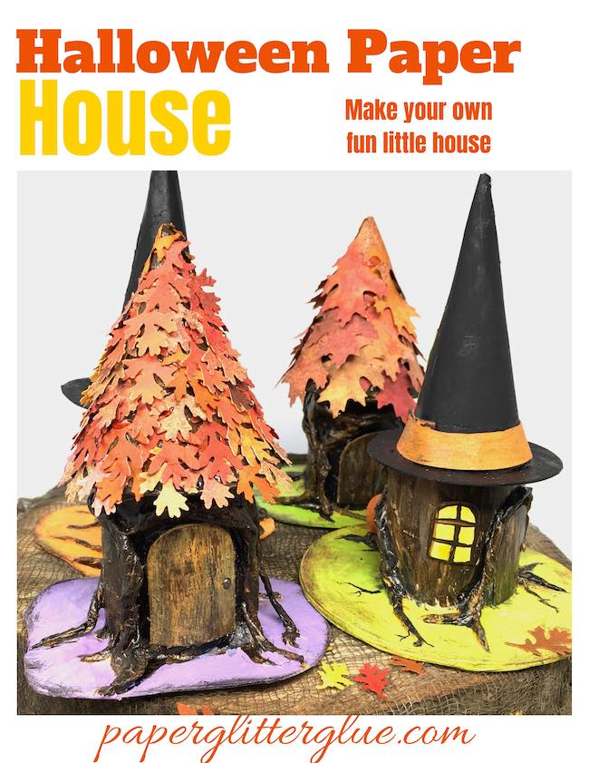 Paper house in the shape of trees stump with leaves or a witch's hat