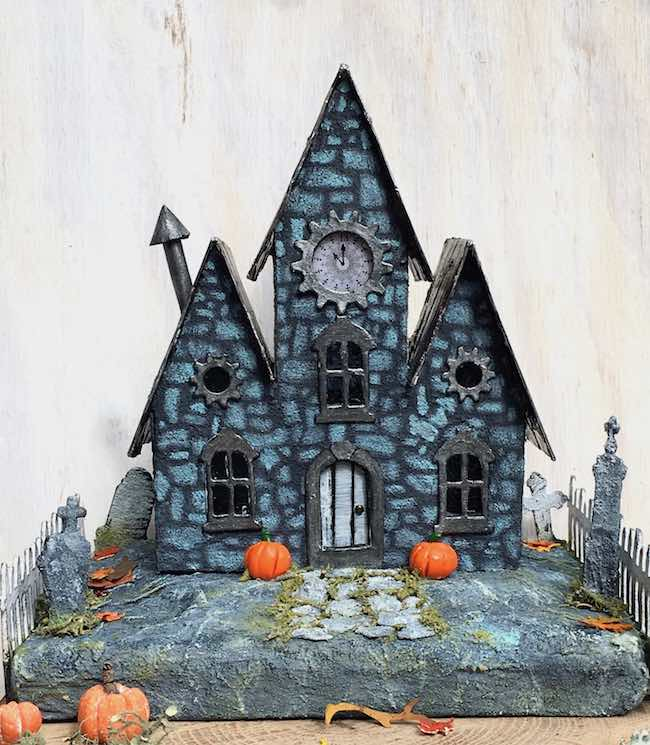 Halloween Paper House stenciled with stone