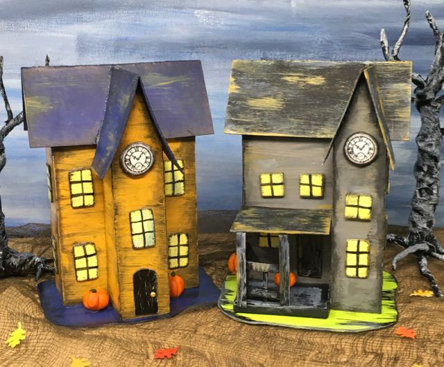 Halloween Paper Houses patterns to make your own little Halloween village