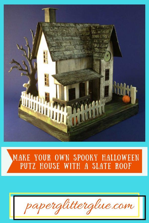 Halloween Putz house slate roof