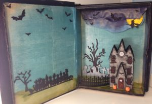 Halloween book stands upright