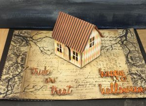 Halloween village dwelling pop-up house inside finished card #popupcard #halloweencard #timholtz #villagedwelling