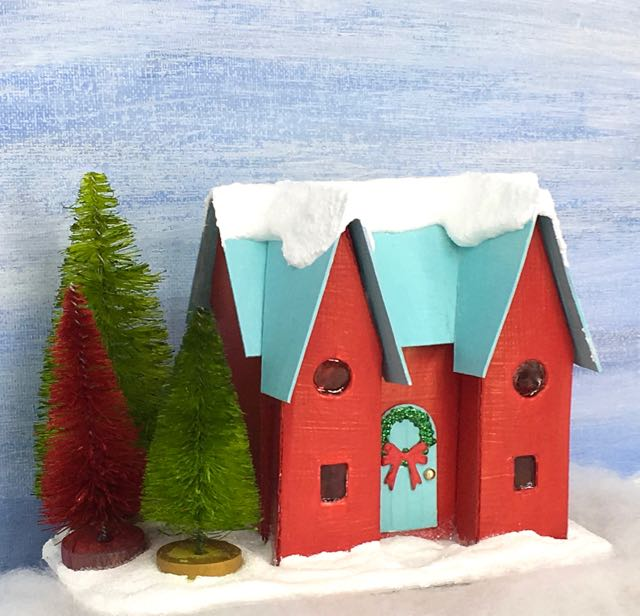 Hqappy Holiday House Christmas Putz House Glitter house for your Christmas Village