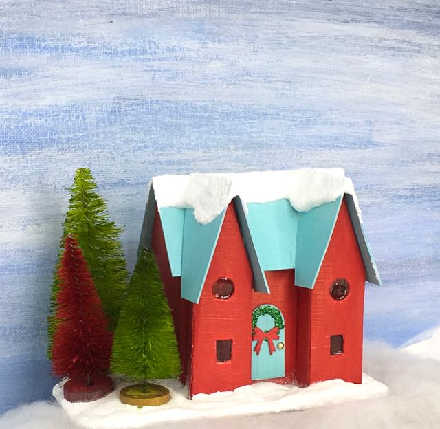 Happy Holiday House Christmas Putz House No. 8 - free pattern and tutorial to make this cute miniature Holiday house