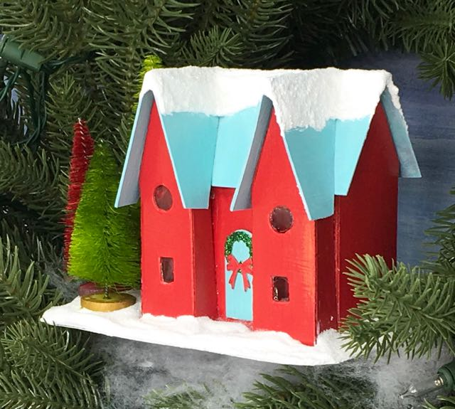 Happy Holiday Putz House glitter house in wreath