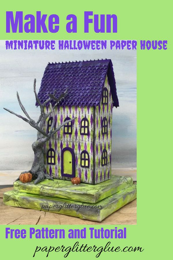 Harlequin House Used Bookstore - little cardboard house for Halloween decor #putzhouse #paperhouse #halloweenhouse #papercraft