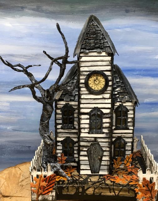 Haunted Schoolhouse Putz house stormy twisted tree #putzhouse #paperhouse #papercraft #Halloweendecor