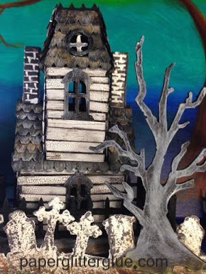 Haunted Village Manor cardboard house back view