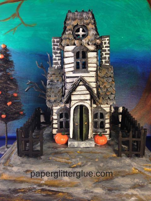 Haunted village manor miniature cardboard house