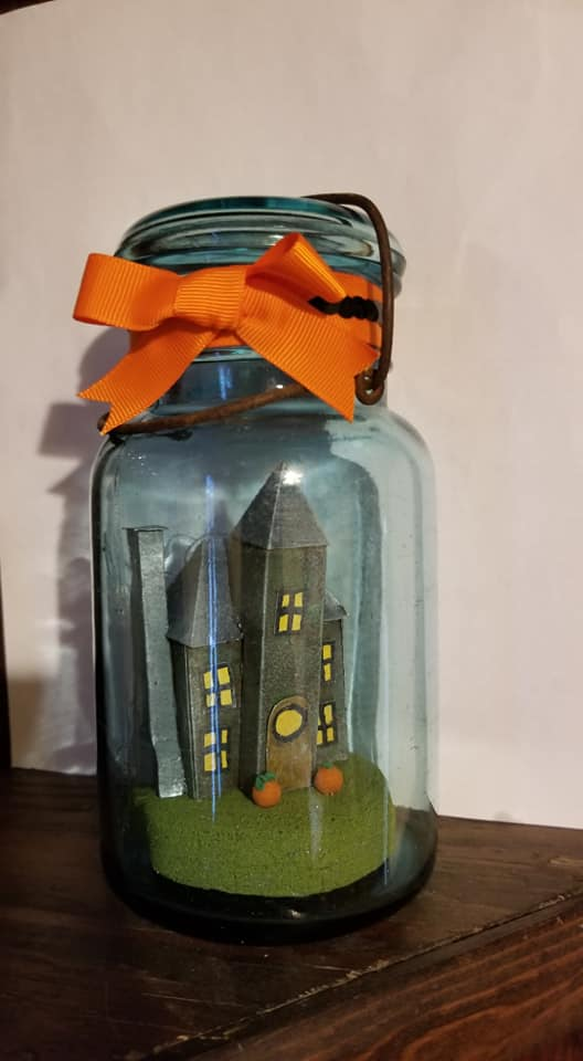 Heather G Halloween house in a jar