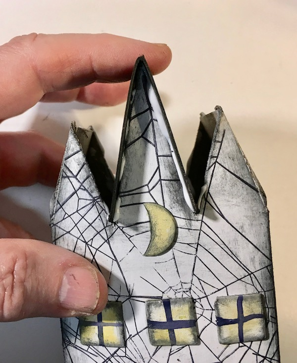 Hold roof piece triple gable gothic halloween paper house