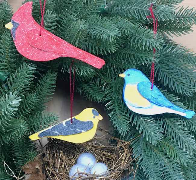 Holiday Bird Ornaments DIY