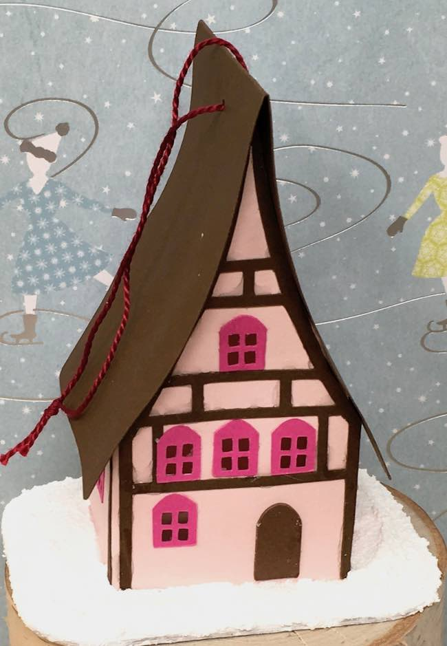 Holiday paper house ornament pink and brown