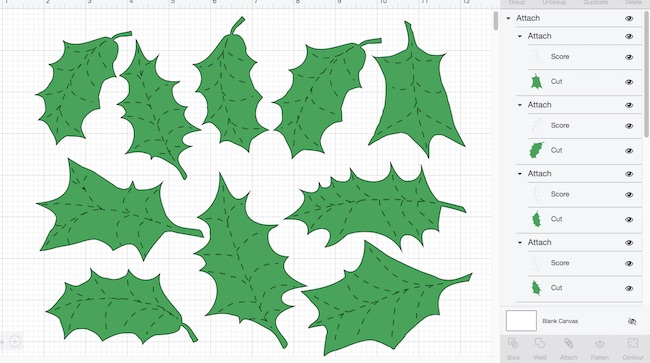 Holly leaves in Cricut Design Space