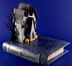 Triple Gable Gothic House on a Book Base