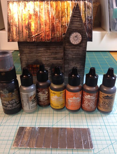 Alcohol inks for making rusted tin roof