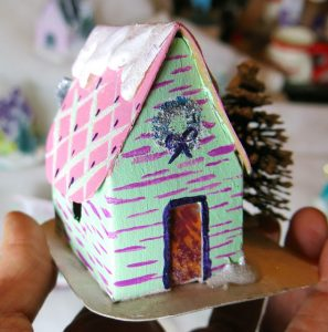 Little house from Cassie Stephens art teacher #putzhouse #papercraft
