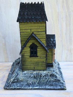 Haunted Holtzville Village Manor Putz house on cardboard base #putzhouse #halloweenhouse #villagemanor #timholtz