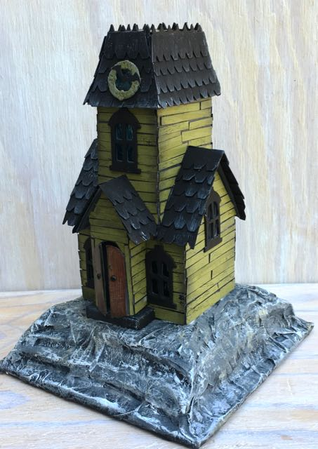 Halloween Putz House called Haunted Holtzville #3 on a cardboard base #halloweenhouse #villagemanor #sizzixvillage #timholtz