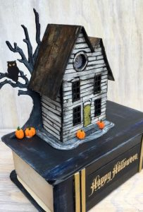 Old Book house - paper house on a cardboard book base #halloween #putzhouse #papercraft