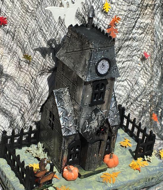 Top view of Metallic Village Manor Halloween Putz House