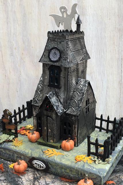 Metallic Village Manor Halloween Putz House
