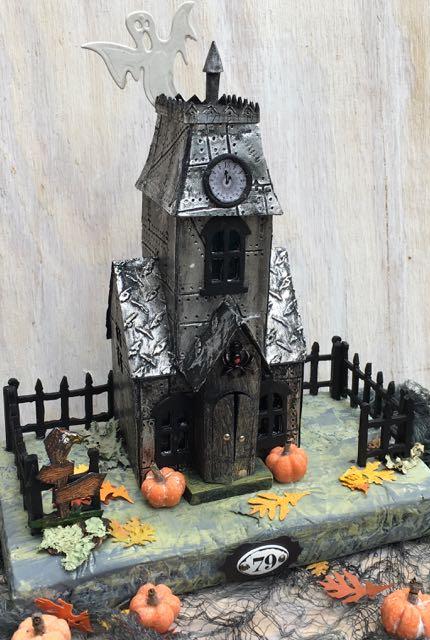 Tim Holtz Metallic Village Manor with grumpy buzzard