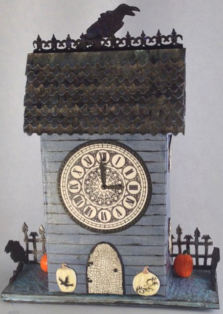 Raven's Crest Clock House Halloween Wall hanging #putzhouse #Halloween #wallhanging #papercraft