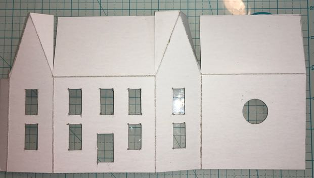 Windows and door cut out on Putz house |How to make a Putz house #putzhouse #paper #tutorial
