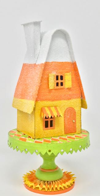 Side view of Candy Corn Putz house