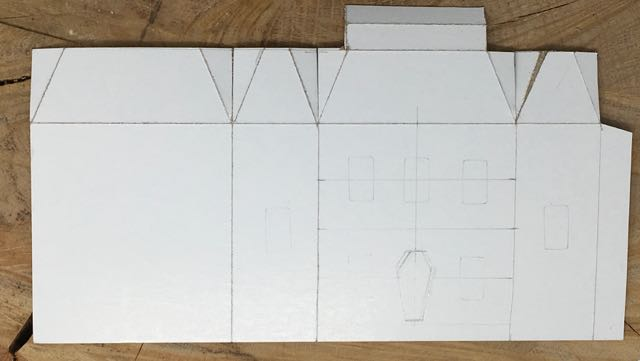 Simple paper pattern for the Rusted Roof Widow's Walk house